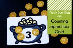 Counting Gold Busy Bag from Second Story Window // free printable. You can use the printable gold coins or plastic gold coins (which are much more fun.)