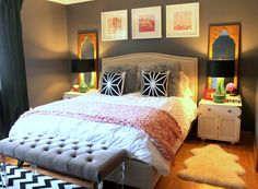 Gray bedroom ideas for women pink and grey room decor turquoise room design pink and grey . Gray Bedroom, Trendy Bedroom, Bedroom Colors, Modern Bedroom, Grey Room, Master Bedroom, Summer Bedroom, Eclectic Bedrooms, Contemporary Bedroom