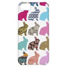 Colorful Whimsical Bunny Chevron Zigzag Pattern Case For iPhone 5C