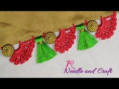 Saree Kuchu New Designs, Saree Tassels Designs, Blouse Designs Silk, Designer Blouse Patterns, Crochet Flower Tutorial, Crochet Flowers, Fabric Flowers, Rangoli Designs Peacock, Crochet Designs