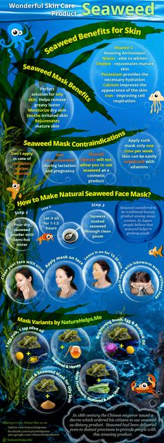 DIY face masks. Homemade face care. Seaweed #nature #health #remedies #herbal #Organic #homemade