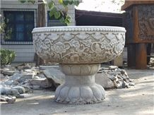 China White Granite for Flower Pots,Planter Pots,Outdoor Planters, Flower Stand
