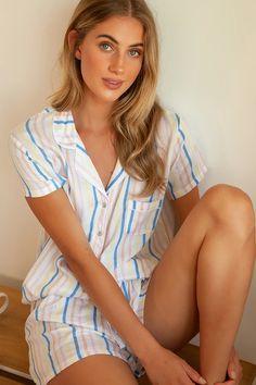 Splendid Summer Stripe Sleep Set - White Multi Striped Pajama Set Sleepwear Sets, Sleepwear Women, Striped Pyjamas, Summer Stripes, Fitted Bodice, Stripe Print, Women Lingerie, Pajama Set, Lounge Wear