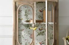 Pair up an Antique cabinet with this stunning wallpaper design by Cole & Son's. Hummingbirds paper lines - display cabinet from An Angel at My Table (HO) Print Wallpaper, Fabric Wallpaper, Hummingbird Wallpaper, Painted Furniture, Diy Furniture, Cole And Son Wallpaper, Tropical Bedrooms, English Decor, Room For Improvement