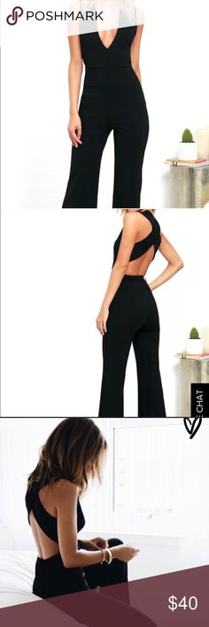 Lulus black jumpsuit Lulus Thinking Out Loud jumpsuit in black. Size Small. Worn once, and in great condition. Lulu's Pants Jumpsuits & Rompers