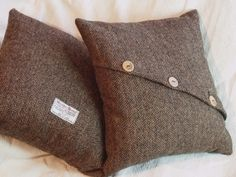 Simple cushion cover with button detail in Harris Tweed