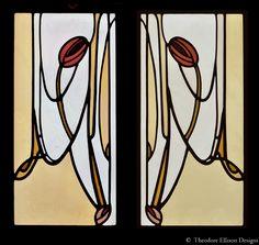 Glasgow Tulip leaded glass windows - Theodore Ellison Designs