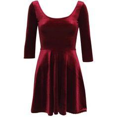 Pilot 3/4 Sleeve Velvet Skater Dress ($24) ❤ liked on Polyvore featuring dresses, wine red, 3/4 length sleeve dresses, three quarter sleeve dress, scoop-neck dresses, scoop neck dress and wine red dress