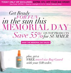 Avon Free Shipping - Take 10% off and get a free travel size bug guard spray with your $40 online order! Use coupon code: VIPONLY http://www.makeupmarketingonline.com/avon-vip-exclusive-save-10-plus-free-bug-guard-gift/ #avon #skinsosoft #bugspray