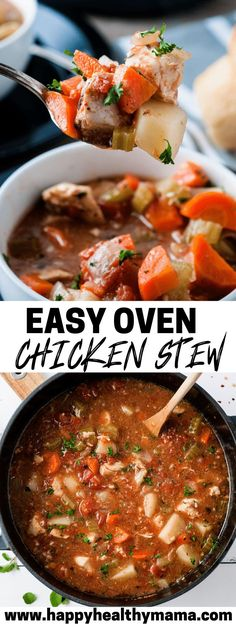 This Easy Oven Chicken Stew is the BEST!! Such a great healthy alternative to beef stew, yet just as cozy and delicious! This is a new staple that will go into your winter dinner rotation!