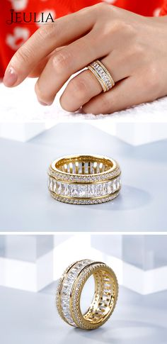 Yellow-Gold Wedding Band That Was Created For A Special Bride ❤️ 15 Review(s) This classic band seams simple at first sight. But the radiant cut stones in the middle show its luxury. They makes the band sparkle in any angle. The classic shank fits to every lady anyway. Never miss it! ❤️ Stacking Rings / Gift for Her / Wife Gift / Anniversary Gift / Stacking Ring Set / Love Gift #JeuliaJewelry #JeuliaJewelry