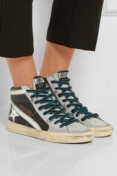 Golden Goose White & Grey Slide High-Top Sneakers