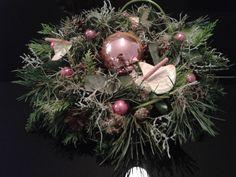 Krans met anthuriums en kerstgroen 2015