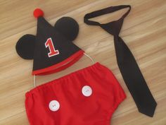 Mickey Mouse inspired Cake Smash Outfit for Boys, First Birthday Outfit for Boys - Mickey 1st Birthday Hat Necktie Diaper Cover Personalized on Etsy, $44.00