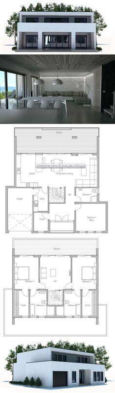 Modern Contemporary House Design to small lot. Floor Plan ConceptHome.com