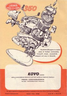JAWA Motorcycles Emerged from Behind the Iron Curtain Bike Poster, Motorcycle Posters, Motorcycle Bike, Vintage Motorcycles, Cars And Motorcycles, Jawa 350, Retro Bike, Motorcycle Engine, Motor Scooters