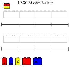 """Use these Smartboard files to compose rhythm patterns with students using Lego blocks! The number of beats each block is worth corresponds with the length of the lego block. For example, a quarter note uses a """"one-lump"""" block, while a half note uses a """"two-lump"""" block, and so on. Templates are made in 2/4, 3/4 and 4/4."""