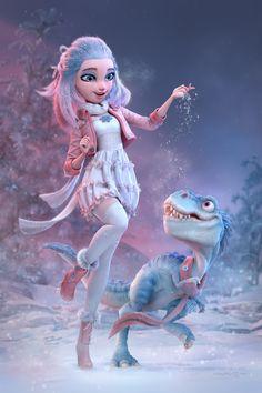 Winter Reunion by Carlos Ortega Elizalde 3d Model Character, Character Modeling, Character Art, Zbrush Character, Character Concept, Concept Art, Girl Cartoon, Cute Cartoon, Cartoon Art