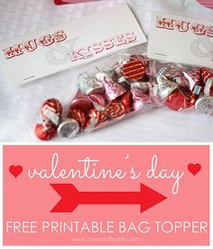 Free printable hugs and kisses valentine's bag topper