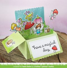 Lawn Fawn - Scalloped Box Card Pop-up, Fairy Friends, Gleeful Gardens _ card by Yainea for Lawn Fawn Design Team