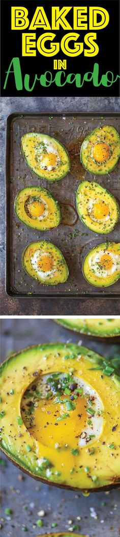 Uova al forno in Avocado - Chi avrebbe mai pensato?  È possibile cuocere le uova nel metà di avocado per una sana opzione della colazione per iniziare la giornata nel modo giusto!