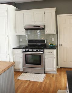 Oh So Lovely: Our $500 DIY Kitchen Remodel. Great kitchen paint and counter top info. -MO