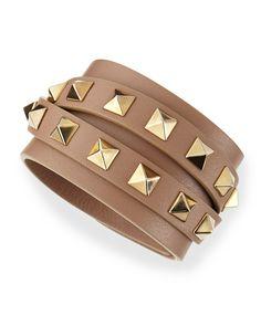 Valentino Multi-Wrap Rockstud Leather Bracelet, Taupe