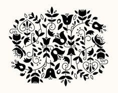 11x14 Nordic Floral Risograph Print (Limited Edition) in black & cream 11x14, Norwegian Scandinavian modern folk art