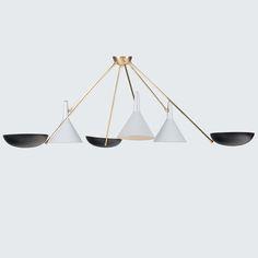 Black and White and Brass Pendant Light Brass Pendant Light, Mid Century Lighting, Brass Fittings, Vintage Italian, Hanging Lights, Floor Lamp, Chrome, Ceiling Lights, 1950s