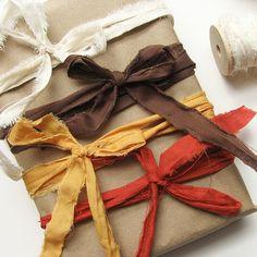 Fabric scraps. Fabric Strips, Fabric Ribbon, Scrap Fabric, Silk Ribbon, Present Wrapping, Creative Gift Wrapping, Creative Gifts, Wrapping Ideas, Paper Wrapping