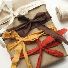 fabric scraps...pretty colors = pretty  wrapping...simple packaging