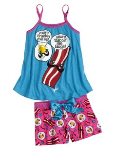 Bacon And Eggs Pajama Set Girls Short Sets Pajamas Shop Justice Cute Pjs, Cute Pajamas, Cute Girl Outfits, Outfits For Teens, Summer Outfits, Girly Outfits, Justice Pajamas, Girls Sleepwear, Justice Clothing