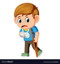 Boy sadness with a broken arm vector image on VectorStock White Slippers, Science Activities, Peace And Love, Funny Stickers, Adobe Illustrator, Vector Free, Arms, Sad, Clip Art