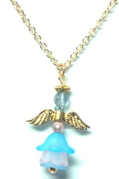 Blue and Pink Flower Angel Necklace by teresadelosh on Etsy
