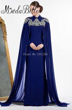 Dubai Kaftan Dress Royal Blue Muslim Evening Dresses Long Sleeves Abendkleider 2017 Mermaid Long Party Dress With Cape