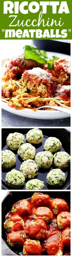 """Ricotta Zucchini vegetarian """"Meatballs"""" – Delicious, melt-in-your-mouth-amazing zucchini meatballs with ricotta and parmesan cheese, topped with a warm and bubbly tomato sauce! Easy Zucchini Recipes, Vegetable Recipes, Vegetarian Recipes, Cooking Recipes, Healthy Recipes, Vegetarian Barbecue, Barbecue Recipes, Vegetarian Cooking, Tailgating Recipes"""