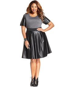 ING Plus Size Faux-Leather A-Line Skirt