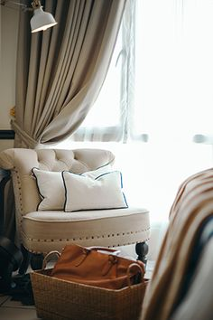 Bold details and a classic palette complete this home's timeless aesthetic Condo Interior Design, Condo Design, Small Rooms, Small Spaces, Condominium Interior, Huge Bed, Studio Apartment, Apartment Ideas, Tufted Chair