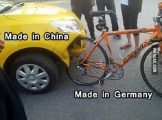 Car & bike - Made in China versus Made in Germany car humor funny Chuck Norris, Funny Car Memes, Car Humor, Hilarious, Fun Funny, Memes Lol, Funny Commercials, Crazy Funny, Funny Laugh