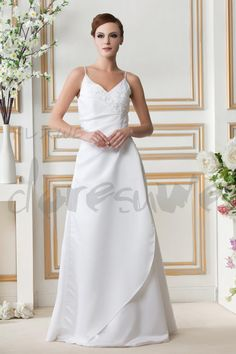 エレガントなAライン/プリンセススパゲッティストラップはGerogiaのウェディングドレスを席巻 11249061 - A-ラインウェディングドレス - Doresuwe.Com