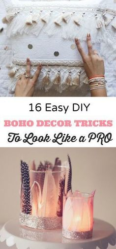 16 easy DIY boho crafts for millennial girls to help create a cozy bohemian bedroom or small apartment living space #boho #decorating #diy #girlgifts #bohostyle #bohocrafts #teencrafts