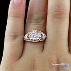 Solid 10K Rose Gold Plated 1.1/3CT Three Stone Round Cut Halo Engagement Ring $$ #Silvergemsjewelry #SolitaireRing