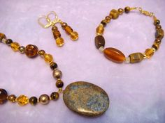 Tigereye Honey Tones Jewelry Set 1105 by nenafashions on Etsy