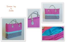 Smart-ies bag in pink and grey and tuquoise.