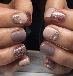 "Nail Trends to Try in 2018 The cool thing about accent nails is that you don't need a design on every finger. Try adding black accents on all ten nails or compliment one or two. ""It can be tricky incorporating black accents to nails,"" saysA base of silver Fancy Nails, Pretty Nails, Sparkle Nails, Glitter Accent Nails, Classy Gel Nails, Sparkle Makeup, Glitter Makeup, Hair And Nails, My Nails"