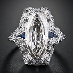 1.86ct marquise diamond Art Deco ring