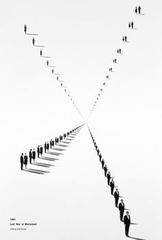 #5, The vanishing point is at the center of this work of art. The people in line seem to be getting smaller and smaller as you move further to the center until they all seem to disappear.