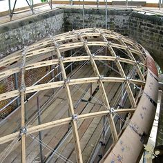 Our most challenging timber frame gridshell to date was created for a existing structure. A Wood Award winner this gridshell is a feat of engineering. Dome Structure, Timber Structure, Timber Architecture, Architecture Details, Roof Truss Design, Curved Patio, Oak Frame House, Roof Trusses, Dome House
