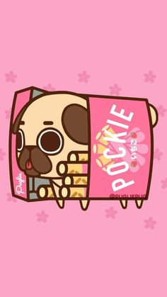 yummy I love Pockie! Cute Food Drawings, Cute Kawaii Drawings, Cute Animal Drawings, Kawaii Art, Pug Kawaii, Pug Wallpaper, Kawaii Wallpaper, Wallpaper Iphone Cute, Cute Wallpapers