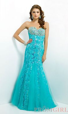 Floral Accented Mermaid Gown by Blush 9750 at PromGirl.com